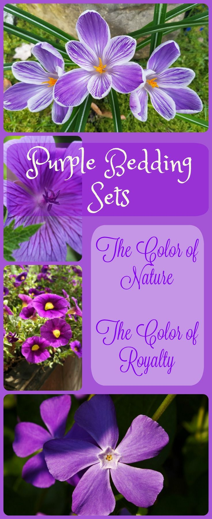 Purple bedding sets, beautiful regal bedroom decor which mimics nature and is used by royalty. Truly gorgeous bedding