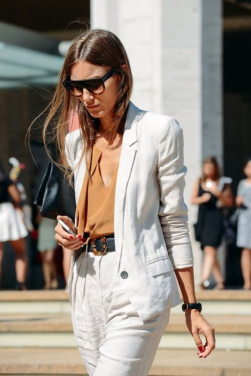 white blazer + chiffon blouse + high-waisted pants +  shades + belt: tucked-in