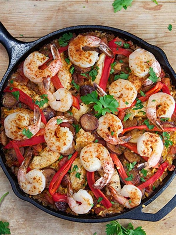 Easy Spanish Paella - made in a cast iron skillet and it only takes an hour