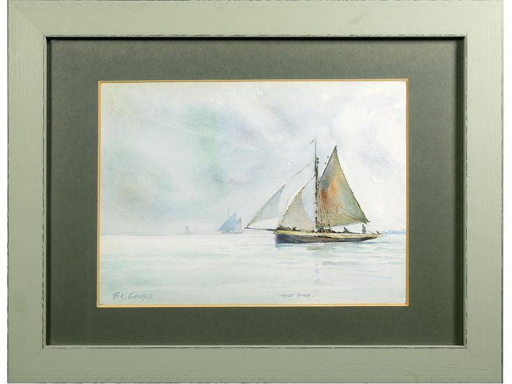 'Oyster Smack' by Brian R Entwistle. Original signed & framed watercolour. British Marine artist