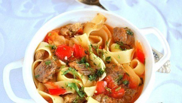 Delicious Lagman Ingredients: Broth — 1.5 l Veal — 500g Noodles — 300g Sweet peppers — 2 pcs. Tomatoes — 2 pcs. Onions — 1 pc. Garlic — 2-3 cloves Parsley — 1 bunch Vegetable oil — 3-4 tablespoons. l. Salt Black pepper Preparation: Peppers, tomatoes, onion peel and cut into cubes. The meat cut …