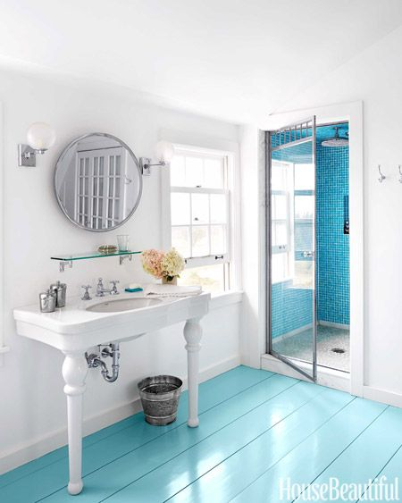 a new england farmhouse gets a colorful update painted wood floorspainted bathroom - Painted Wood Bathroom Interior