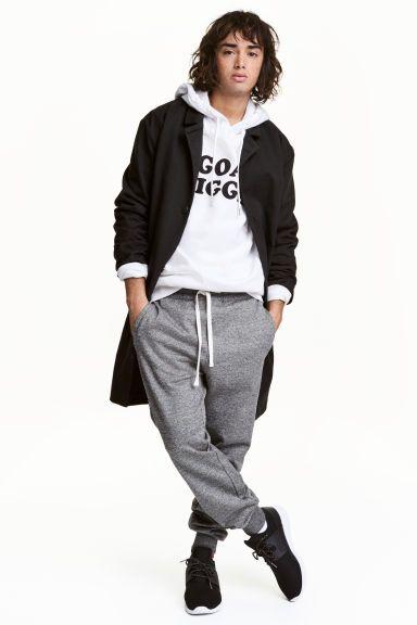Spodnie dresowe - Ciemnoszary melanż -   H&M PL 1