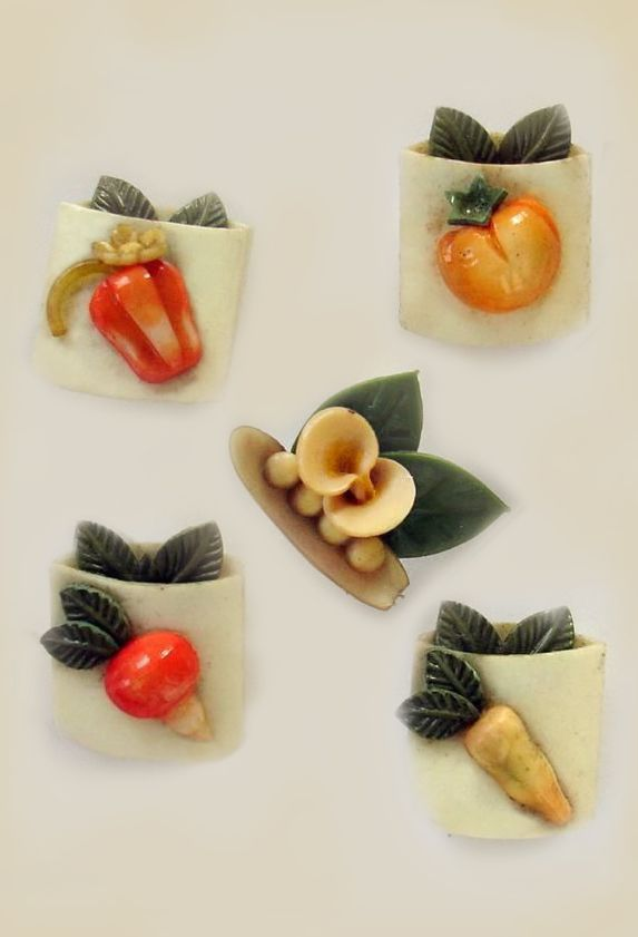 Vintage Weeber Celluloid Seed Packet Buttons
