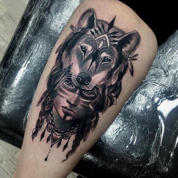 Women Wolf Tattoo Helmet Indian Woman Wolf Tattoo Design Headdress Tattoo Tattoo Designs