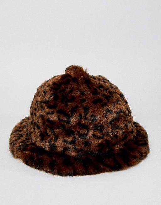 Kangol faux fur casual bucket hat in leopard print  aec4ff449975
