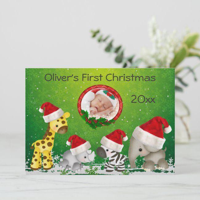 Baby S First Christmas Safari Animals Photo Card Zazzle Com Christmas Photo Card Template Holiday Photo Cards Template Babies First Christmas