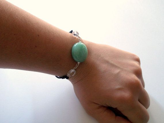 Aventurine and quarz cotton Bracelet / raw stone jewelry / adjustable cotton cord bracelet / waxed cotton bracelet / green black