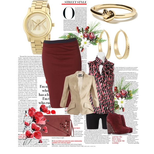 """Business in Beige and Burgundy"" by thedyb on Polyvore  Wear this beige jacket and versatile top with pants or a pencil skirt and you're in the business of looking beautiful!   #businessattire #WorkWear #pencilskirt #booties #ankleboots #sleeveless #Clutch #blazers #purse #handbag #jewelry #bracelets #ring #LookForLess #fashionista #biege #burgundy #skirts #outfits #Howtostyle #WhatToWear #Fall #heels #mixandmatch"