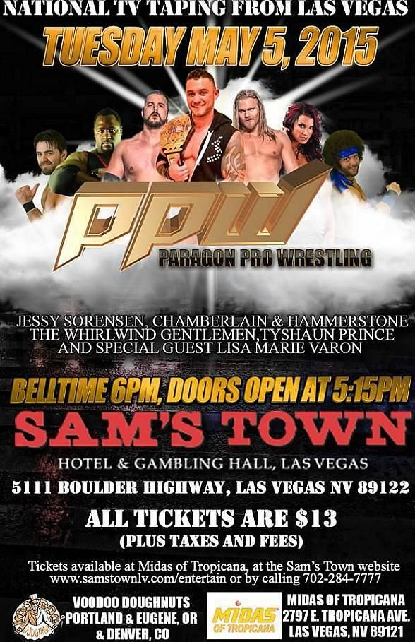 TONIGHT! MAY 5 - Paragon Pro Wrestling to bring Professional Wrestling Talent to Sam's Town Live! on May 5