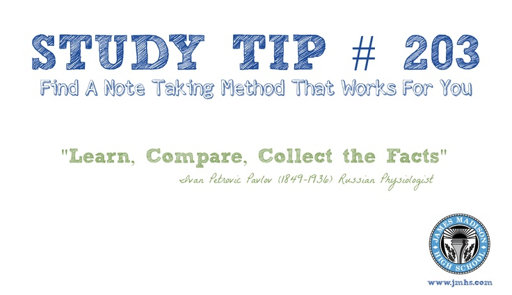 Online High School Study Tip # 203 - Note taking can be tricky to say the least! Use different note taking methods like highlighters, sticky notes, index cards or charts  diagrams... ~ James Madison High School Online