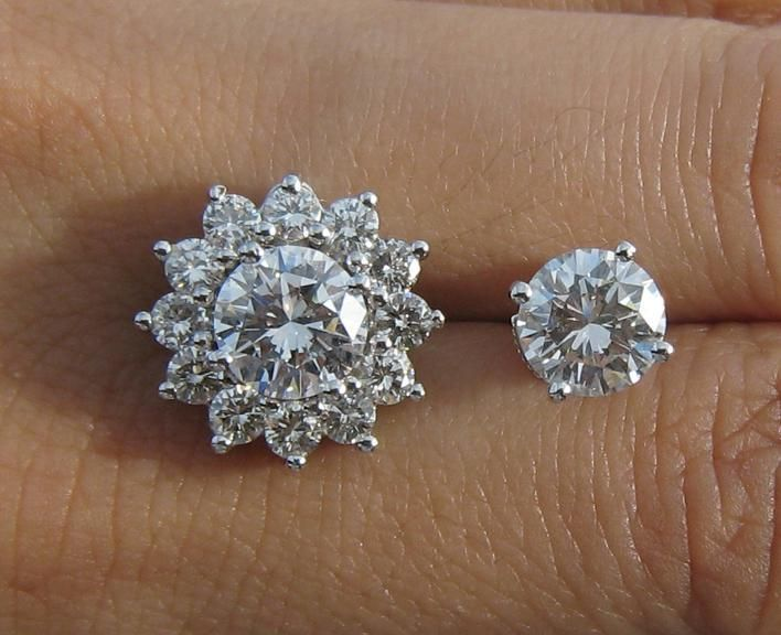 Diamond Earrings with and without Jacket