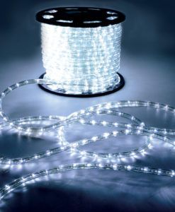 50m 230v comercial quality LED rope lighting (3-pin) static, multi-coloured A range of mains operated, weather resistant LED rope light for indoor and outdoor applications. -Flexible 13mmØ plastic tube -Longlife (100,000 hours) bright LEDs -Supplied on a plastic reel -Requires power cable (153.562) -NOTE: The rope light can ONLY be cut as indicated on the side of the tube (2 metre intervals) -NOTE: Any joints or cut ends should be made waterproof -IP 44