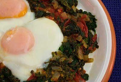 Mediterranean Cooking in Alaska: gluten free; Lamb's Quarters and Tomatoes with Eggs (Χόρτα και Ντομάτες με Αυγά)