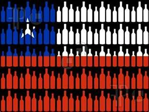 Illustration of multiple wine bottles and Chilean flag illustration