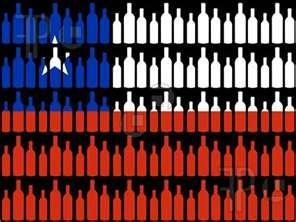 Illustration of multiple wine bottles and Chilean flag illustration