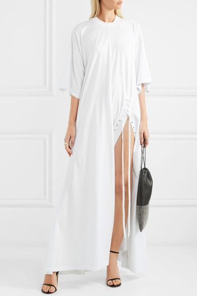 Y/PROJECT - Oversized Lace-up Cotton-jersey Maxi Dress - White