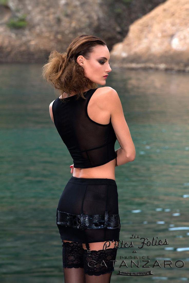 Mini jupe transparente à jarretelles Patrice Catanzaro