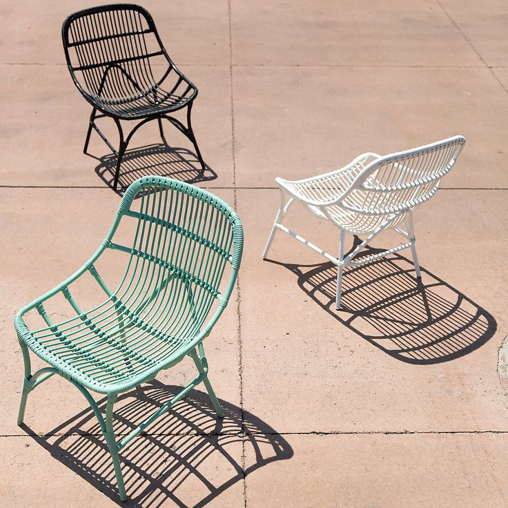 "Made from durable, all weather wicker with a lightweight aluminum frame, this colorful chair is a cheerful addition to garden rooms.- Powder-coated aluminum, poly rattan- Indoor or outdoor use- Clean with water and mild, non-abrasive detergent- Seat: 15.8""H, 19.7""D - Imported32.5""H, 25.6""W, 29.5""D"