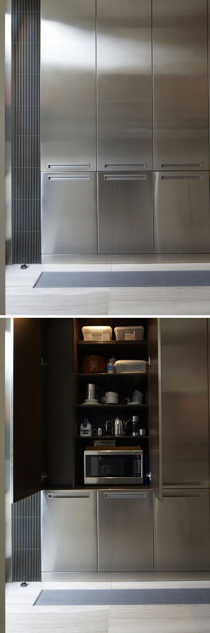 This modern and slightly industrial kitchen has a stainless steel oven and cooktop as well as a wall full large stainless steel cabinets that provide plenty of storage, and make a good hiding spot for appliance.