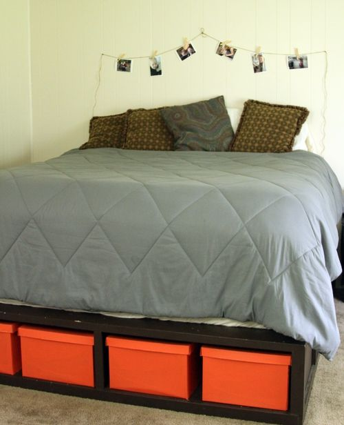 Great for storage: Picture, Diy'S, Diy Bed Frame With Storage, Under Bed Storage, Dollar Store, Bedstorage, Storage Beds, Storage Underbed, Storage Ideas