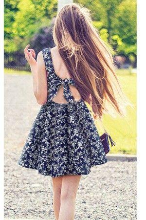 Dark Blue Floral Print Bowknot Backless Dress @ Print Dresses,Floral Dresses,Animal Print Dresses,Floral Print Dresses,Leopard Print Dresses,Zebra Print Dresses,Print Maxi Dresses,Long Sleeve Print Dresses,Cheap Floral Dresses,Cute Floral Dresses,Long Floral Dresses,Printed Dresses