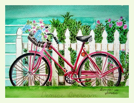 Red Bike and Basket of Flowers Painting - Original Watercolor 9x12 by Denise Iverson
