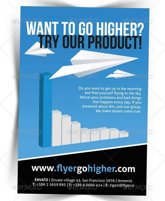 This business promotion flyer has the use of repetition with the paper airplanes and the use of colour within the flyer, also it has contrast within it at the bottom where the text comes out from the black.