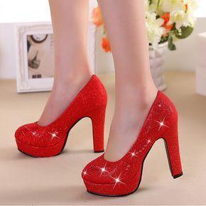 Sapatos de casamento da noiva verão vermelho de salto alto estilo chinês sapatos vermelhos casados sapatos de noiva de ouro sapatos de dama de honra alishoppbrasil