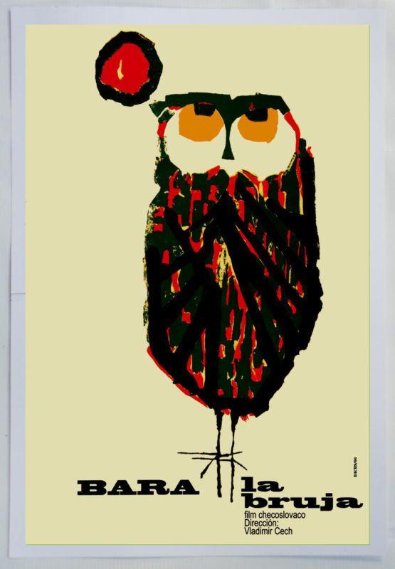 Cuban movie Poster 4 film Bara the WITCH.Owl modern art.La Lechuza Bruja.Lovely #Vintage