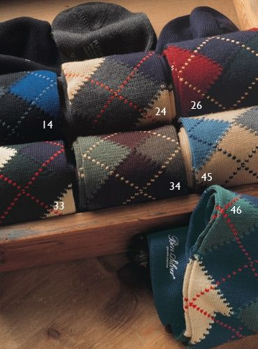 Argyle Socks in Wool  33-green, navy, yellow  34-burgundy, brown, green