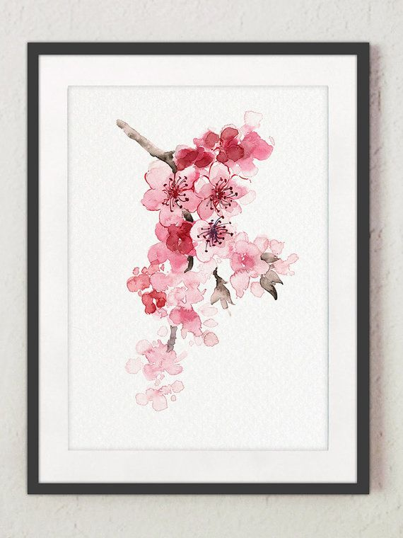 Cherry Branch Home Decor, Cherry Tree Pink Newborn Girl Nursery Wall Painting, Watercolor Cherry Blossom Shabby Chic Nature Giclee Art Print