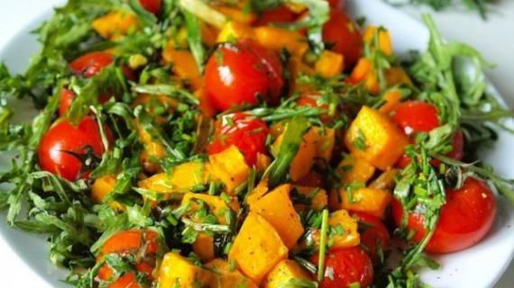 Теплый салат из тыквы с помидорами черри. Пошаговый рецепт с фото, удобный поиск рецептов на Gastronom.ru