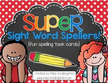 """Super Sight Word Spellers are a fun way to get your students excited about practicing spelling their sight words or spelling words! You can set them up in your writing or word work stations, or wherever works for you!   This download includes 18 student friendly spelling task cards {measuring 4""""x6""""}  *two sets are included!"""