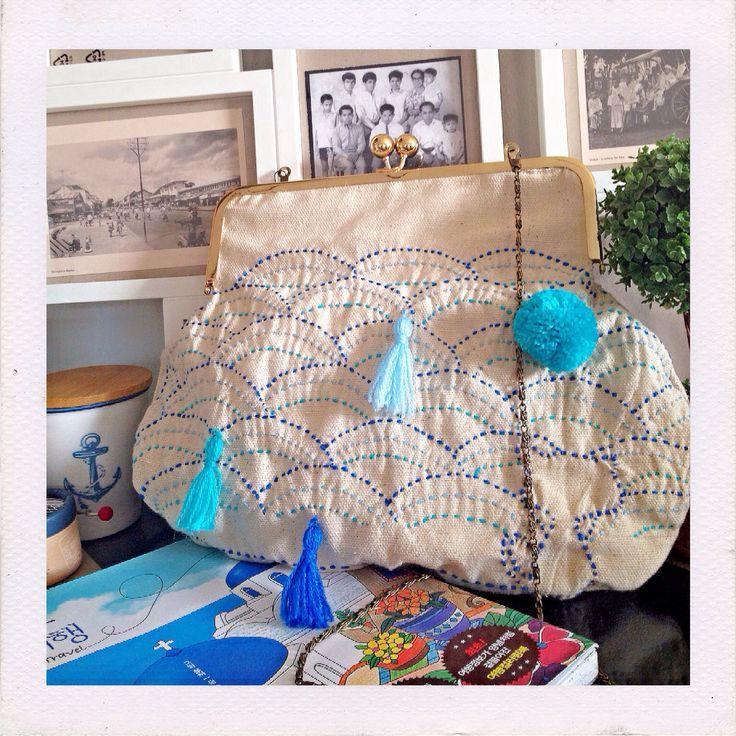 Aquamarine sashiko frame Bag