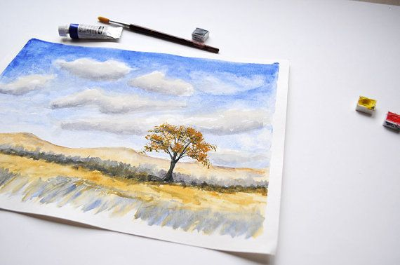 Single Tree Watercolor painting Original / by SundayWatercolor
