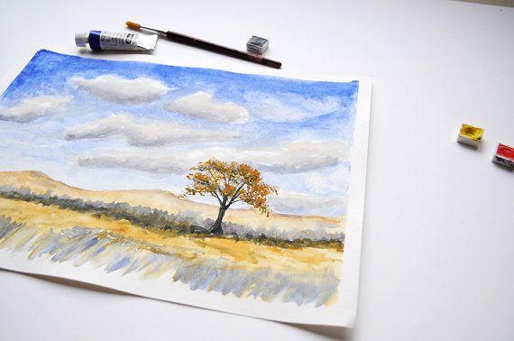 Single Tree Watercolor painting Original / by SundayWatercolor