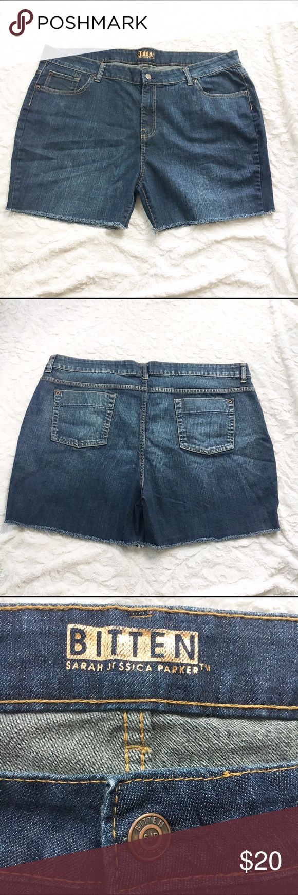 "Plus Size Denim Shorts ""Bitten by SJP"" Brand is Bitten by Sarah Jessica Parker. Great condition. 99% cotton 1% Spandex Waist: 20.5"" Inseam: 4"" Bitten by Sarah Jessica Parker Shorts Jean Shorts"