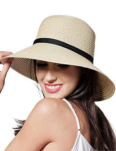 9c46bd79b CAIYING Women Summer Sun Beach Straw Hat for Women Girls Travel Packable  Cap with Chin Strap