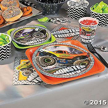 A birthday party decorated with monster trucks will make any birthday boy smile. Easily add some monster truck madness to any birthday with these monster ...