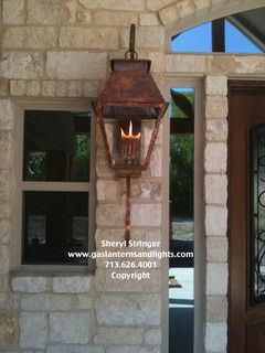 Hill Country Style Home With Gas Lanterns Traditional Outdoor Lighting Houston By