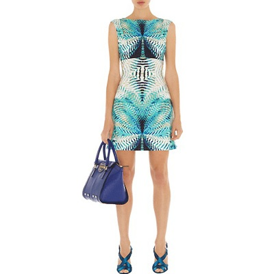 Karen Millen Mirror Print Dress in Blue