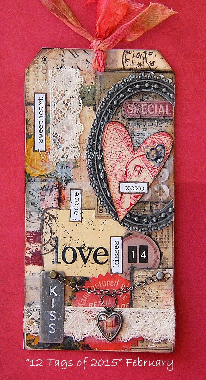 Lovely use of lace, stitching, papers, metal embellishments - makes an interesting tag www.thememorycompany.co.uk for personalised scrapbooks