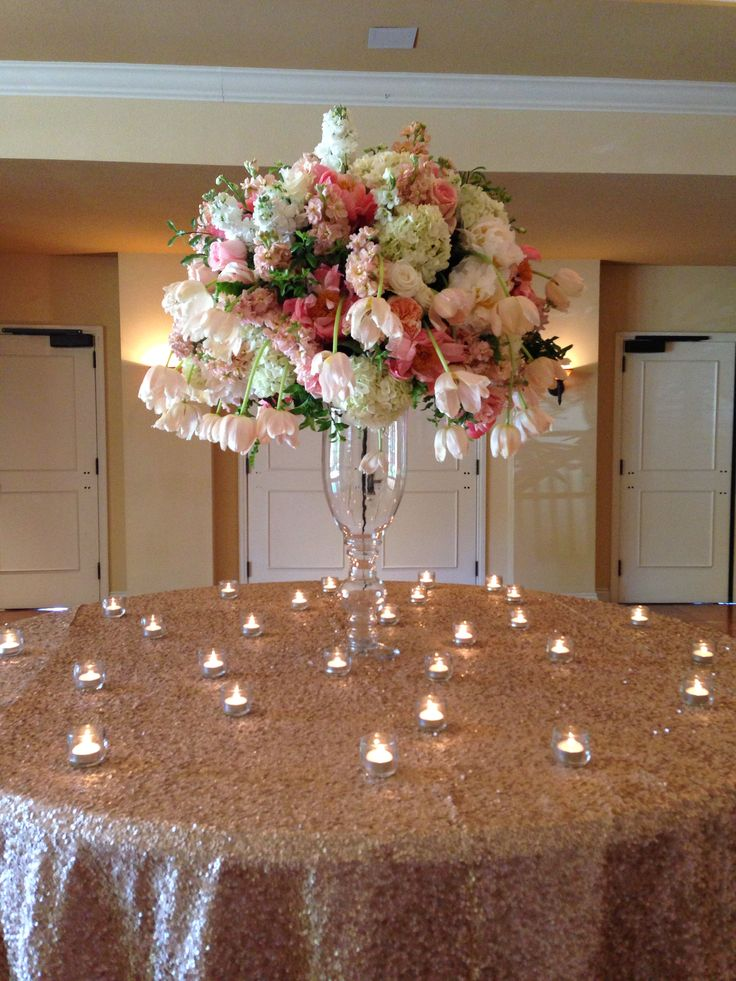 Garden coral pink peach cream white flowers centerpieces