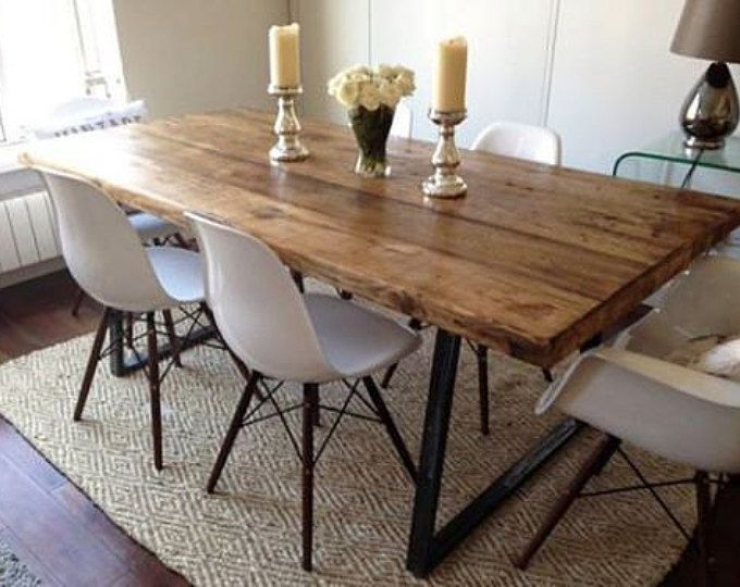 Vintage Industrial Rustic Reclaimed Plank Top Dining Table With Triangle Steel Base H In 2020 Industrial Dining Table Wooden Dining Tables Farmhouse Dining Room Table