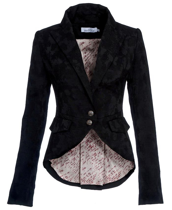 Katherine Jacket-Fitted 2 button breasted jacket with brocade fabric.