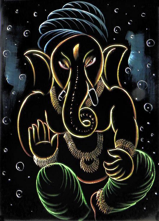 Lord Ganesha (Painting on Velvet Cloth - Unframed))