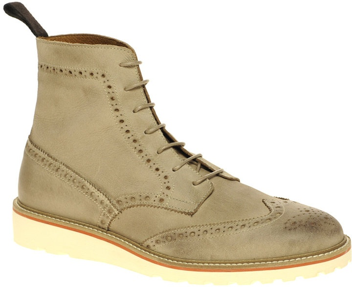 ASOS Leather Brogue Boots With Wedge Sole thestylecure.com