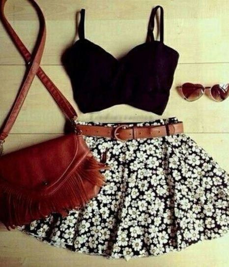 cute • summer • spring • ootd • bandeau • skirt • purse • sunglasses • belt • black • white
