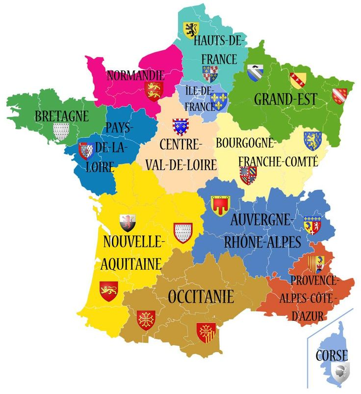 Les 13 nouvelles régions de France métropolitaine (2016) - France is divided into 18 administrative regions, including 13 metropolitan regions and 5 overseas regions.